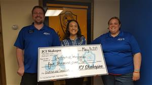 On May 16, Joshi attended the JCI Shakopee meeting for a check presentation