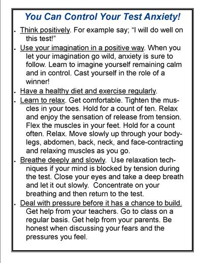 Worksheet Test Anxiety Worksheets academic support mca prep overview test anxiety tips